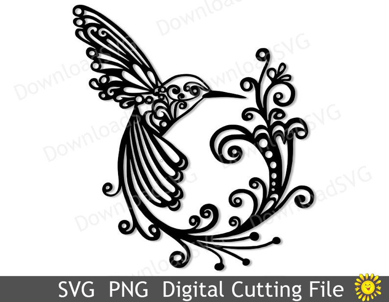 SVG PNG cutting file template Hummingbird Vector Decal Cricut Silhouette Digital Home Decoration Vinyl Transfer Cards Scrapbooking  5012SH