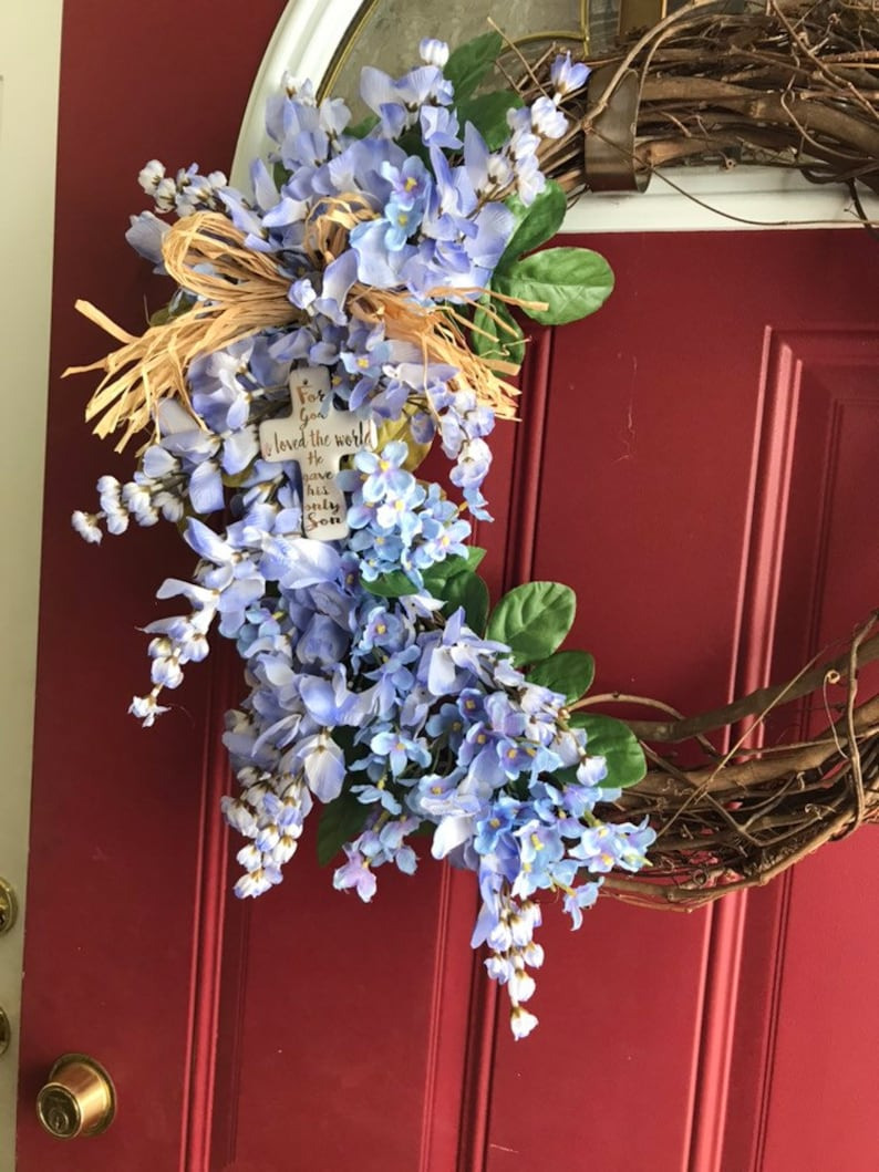 Easter joy For God so loved the world He gave His only Son Spring is here Beautiful Purple flowers with a raffia