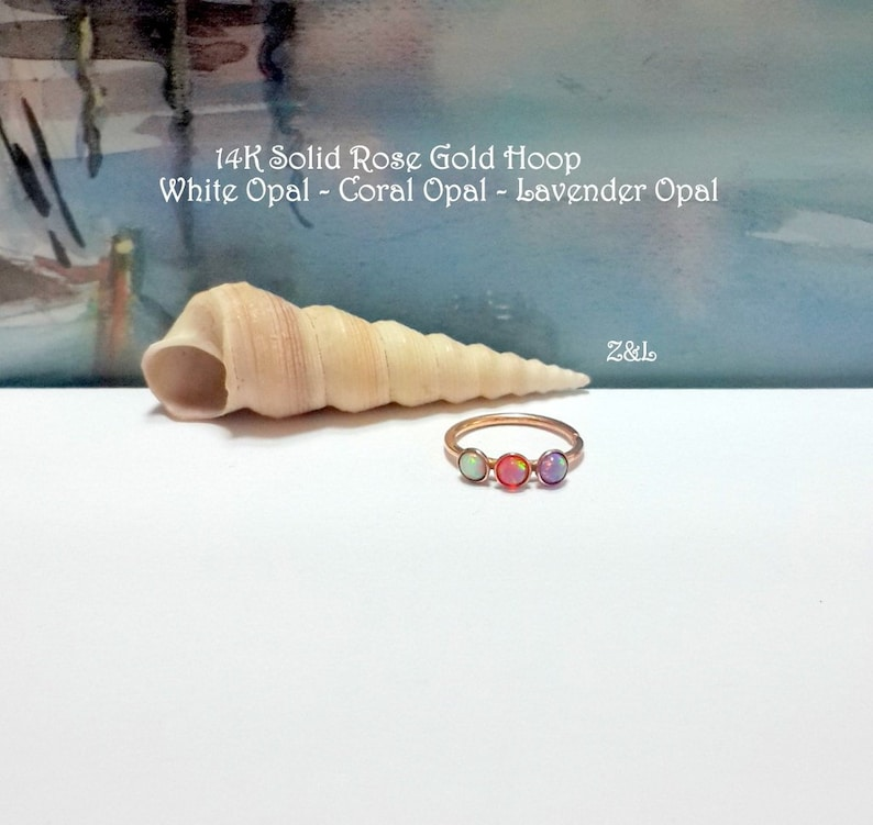 22G 20G 18G 16G 14K Solid Gold Fire Opal helix hoop-tragus-lobe-conch-cartilage-nose ring-October/'s Birthstones-New Collection-Wedding Gifts