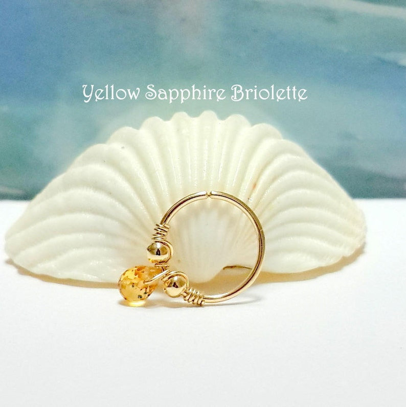 22g 20g 18g 16g 14KSolid Gold Gemstone Multicolor Sapphire Briolette Helix Piercing-Nose-Tragus-Conch Ring-September Birthstone,Holiday Gift