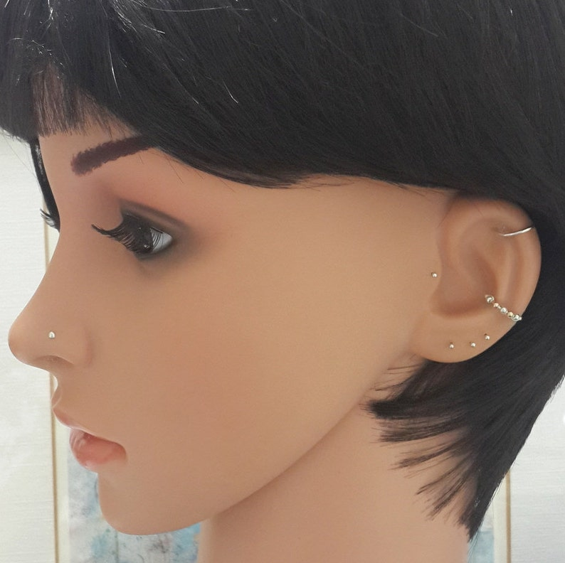 Barely There Stud L-Shape Nose Bone-Gifts Minimalist Nose Stud Sterling Silver 1.5-2mm Ball 24g 22g 20g 18g 16g Silver Tiny Nose Stud