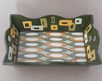 Handbemalt Holz ServingTray / Retro Style Tablett / Handgefertigte Holz  Retro Lackiert Holz Servierplatte / Retro