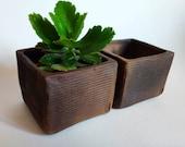 Square black ceramic succulent planter. Small minimalist cactus planter pot. Handmade ceramic square planter