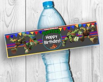 Teenage Mutant Ninja Turtles Drink Labels Chalkboard,TMNT Water Bottle,TMNT Birthday Printable,Teenage Mutant Ninja Turtles Party Favor