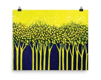 GREEN FOREST, POSTER, original art, living room, vivid, modern art, wall decor, abstract art, green, blue, trees, MillStreetCottage