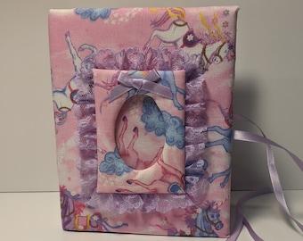 Little Girls Unicorn Photo Album-4x6 vinyl photo book-polka dots-48 photos-pink photo album-purple unicorn-family memories-birthday memories