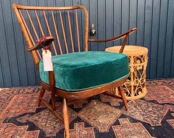 Vintage Ercol Armchair - Stunning New Teal Velvet Upholstry