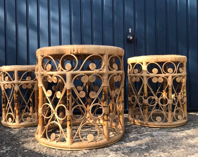 Mid Century Rattan Nesting Tables - Full Set - Beautiful and Very Rare