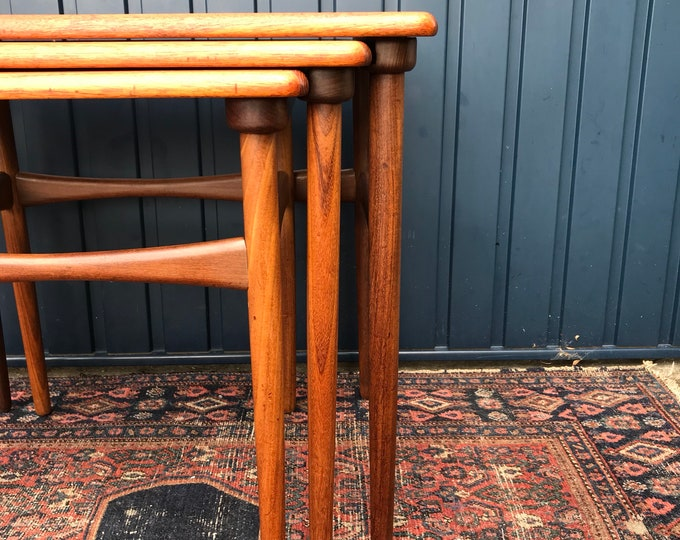Elegant Vintage Danish Teak Nesting Tables