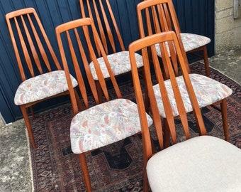 Set of Six (6) Vintage Mid Century Teak Dining chairs - Rare Danish Design
