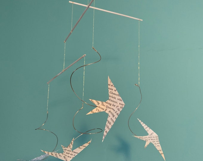 """Graceful Paper Mobile of Swallows Gliding - Handmade Hanging Kinetic Bird Sculpture - """"Summer Is Coming"""""""