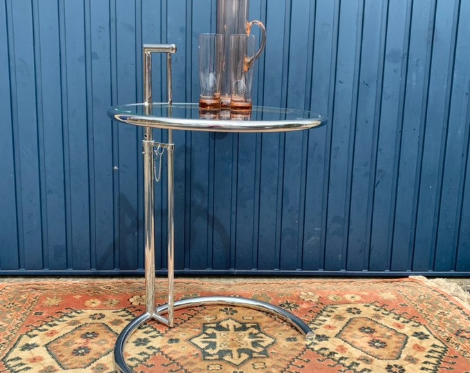 Mid Century Style Chrome and Glass Side Table - Height Adjustable