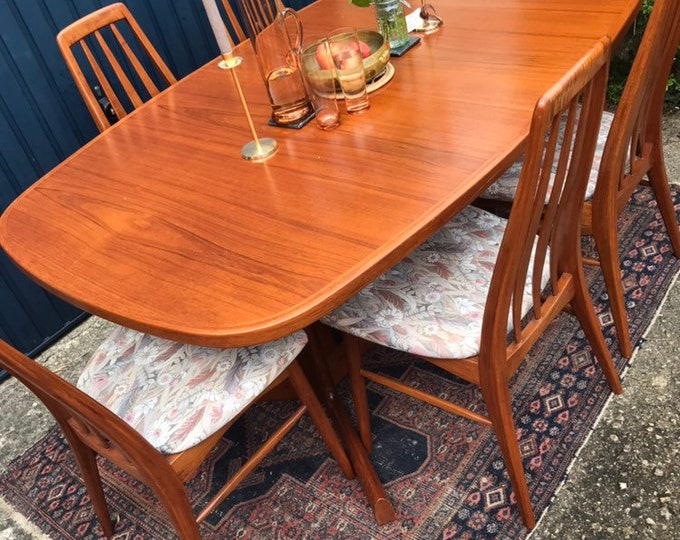 Mid Century Dining Set - Vintage Danish Teak Table and Chairs - Set of 6 (Six)