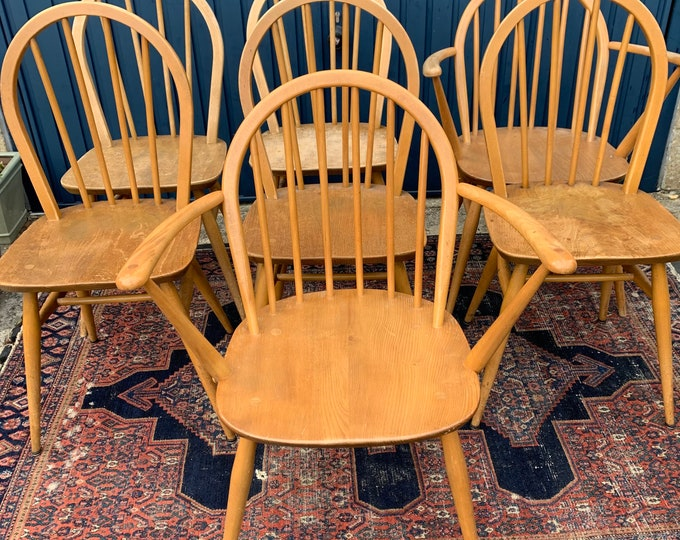 Set of 6 Vintage Ercol Windsor Dining Chairs - Era Mid 20th Century - Style Modernist - Designer Lucian Ercolani