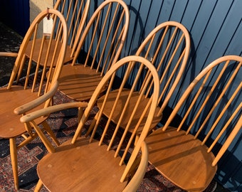 Beautiful Vintage Ercol Quaker Dining Chairs - Set of Six (6)