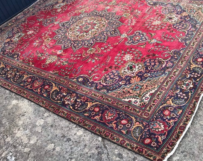 Beautiful Red Blue and Gold Vintage large Persian Rug