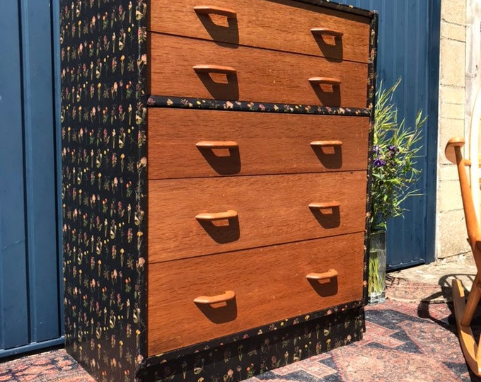 Unique Decoupage Mid Century Modern Chest of Drawers