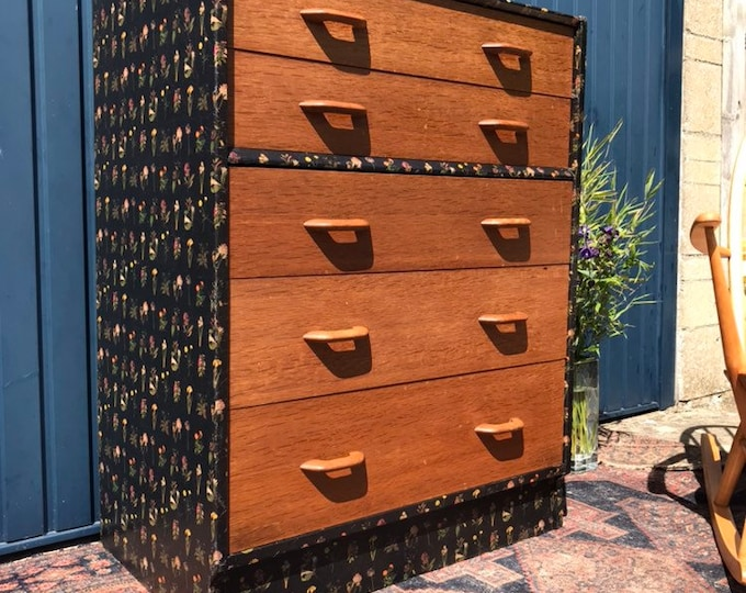 Mid Century Modern Decoupaged Chest of Drawers