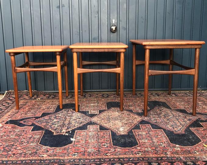 Mid Century Nesting Tables - set of Three vintage Danish Modern Tables