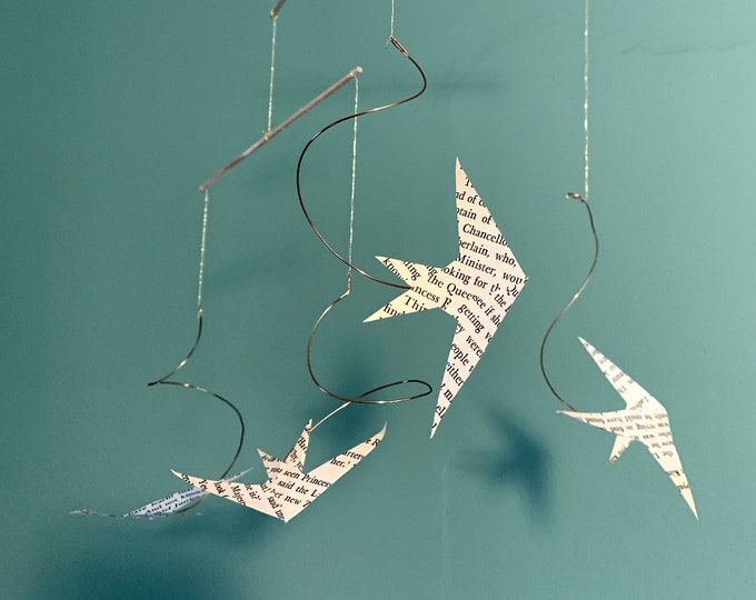 """Bird Mobile - Handmade Hanging Kinetic Sculpture - Vintage Paper and Wire - """"Summer Is Coming"""""""