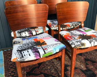 Mid-Century Dining Chairs - Set of Four (4) Bright and Beautiful Bespoke Reupholstered