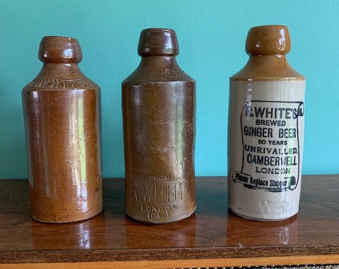 Set of Three Antique Stoneware Ginger Beer Bottles - 18cm Tall