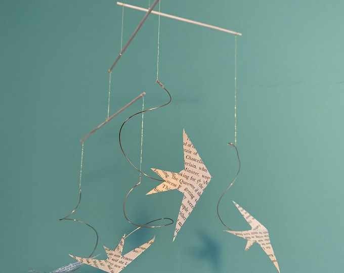 """Birds Mobile of Swallows Gliding - Handmade Hanging Kinetic Bird Sculpture - """"Summer Is Coming"""""""