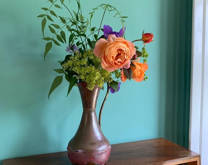Beautiful Vintage Copper Vase - Unique Aged Patina and Texture