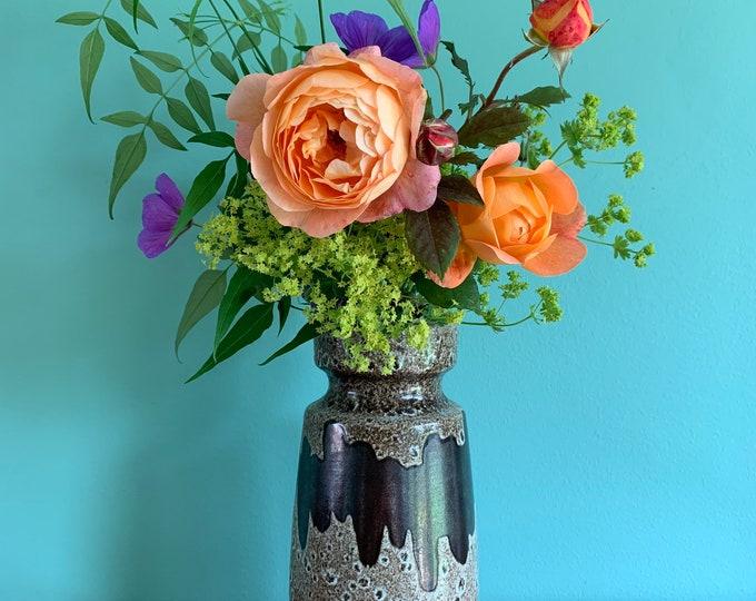 Vintage Modernist West German Ceramic Vase - Natural Brown and Beige Lava Glaze - 23cm Tall