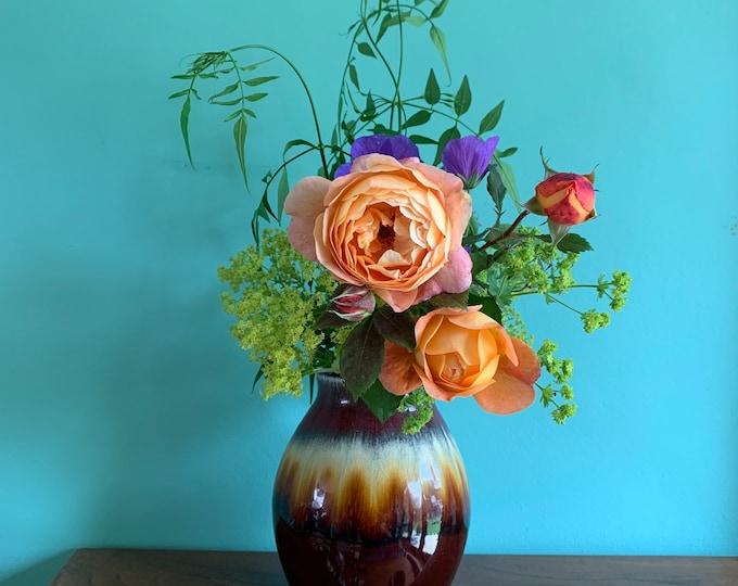 Stunning Vintage Vase - Burgundy, Deep Red with Cream, Orange and Brown Tones - 16cm Tall