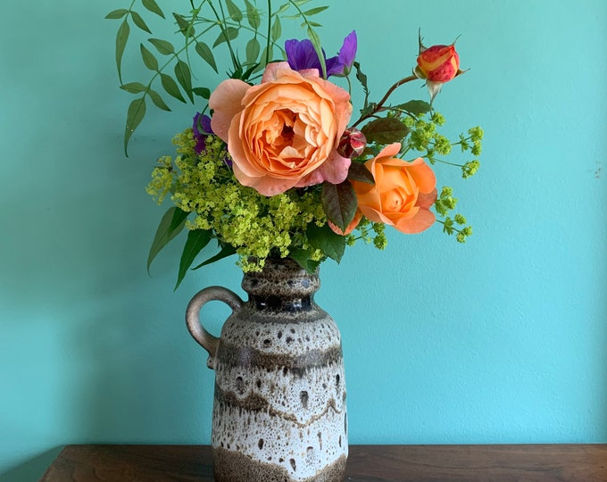 Rare Vintage West German Ceramic Vase - Earth Tones - 21cm Tall