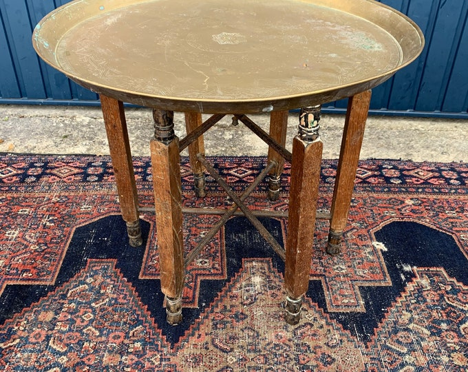 Antique Egyptian Brass and Wood Circular Folding Tray Table - Era: Early 20th Century