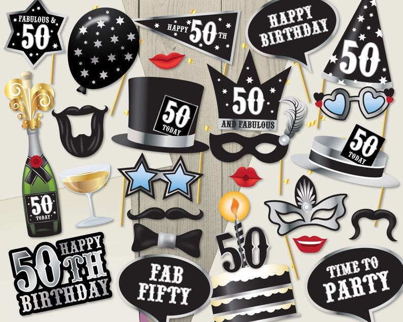 Ready Made 50th Birthday Photo Booth Props 28
