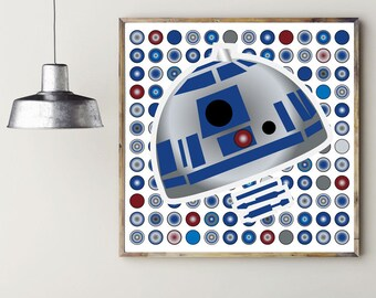 R2-D2 INSPIRED ARTWORK, printable wall art, printable home décor, instant download, digital download