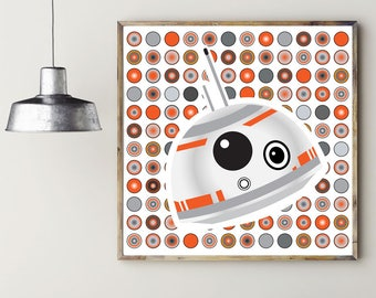 BB-8 INSPIRED ARTWORK, printable wall art, printable home décor, instant download, digital download