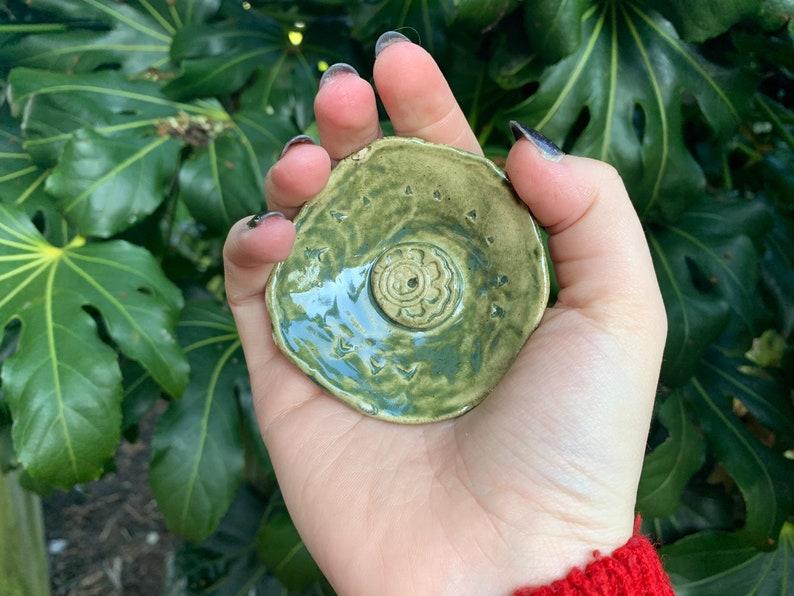 Green Stoneware Incense Holder