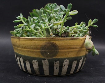Large Ceramic Dish Planter with Glass Base