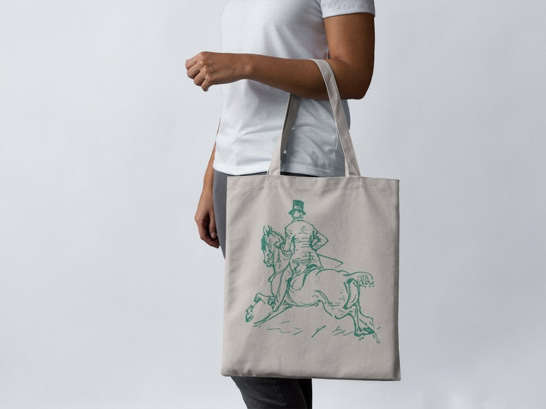 Foxhunting Tote Bag   equestrian bag   vintage horse graphic   barn life    reusable grocery tote