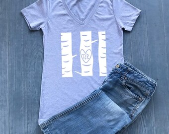Personalized Initials Shirt - Tree Trunk Carved Initials - Love Shirt - Soulmates Shirt - Valentine Gifts - Valentine's Day - Valentine