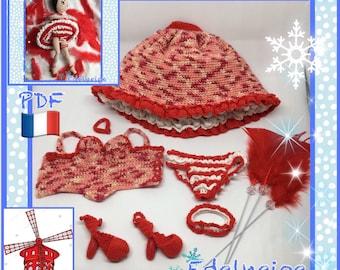 Tutorial PDF amigurumi crochet clothing french Cancan for fashion doll.