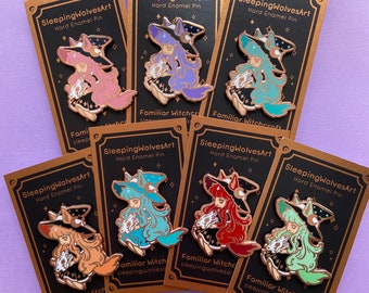 Familiar Witchcraft: Wolf Witches Hard Enamel pins