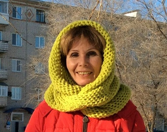 Wool Knitted Scarf, Knit Scarf, Crochet Scarf, Chunky Scarf, Yellow Scarf, Gift For Her, Oversized Scarf, Oversized Knit Scarf, Circle Scarf