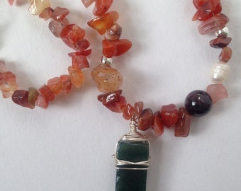 Dragon's Heart Necklace - Red and Green Agate Amulet for Joy and Balance