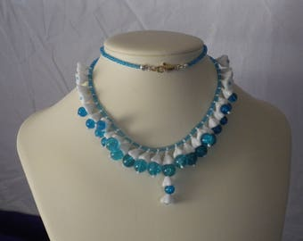 White and Aqua Bells Necklace