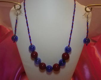 Red and Blue Bubbles Necklace and Earrings Set