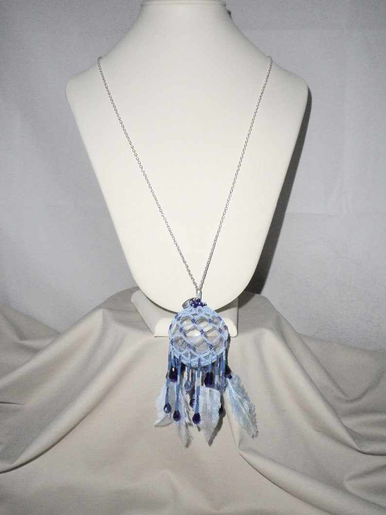 FREE Shipping Cobalt Cable Chain Handmade Silver Crystals Beaded Pendant Blue Trimmed Marabou Feathers Dream Ball
