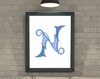 Lettering Poster // N is for Neat // Letter Illustration // Calligraphy // Lettering Wall Art // Blue // Hang it