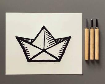 Free Shipping | Paper Boat Linocut Print
