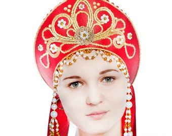 Russian traditional kokoshnik, Headdress for folk costume, Folk attire