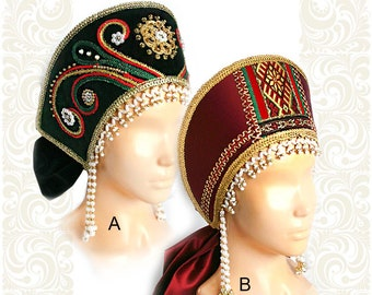 Russian Traditional Folk Costume Headdress Kokoshnik Inna burgundy #498